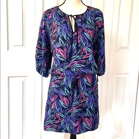 Yumi Kim Dresses & Skirts - Yumi Kim Silk Leaf Print Drawstring Waist Dress
